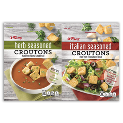 Tops Herb Seasoned & Italian Seasoned Croutons packaging