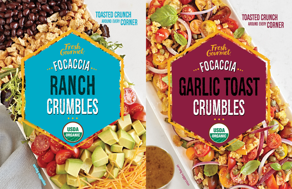 Fresh Gourmet Focaccia Ranch Garlic Toast Crumbles Wrappers