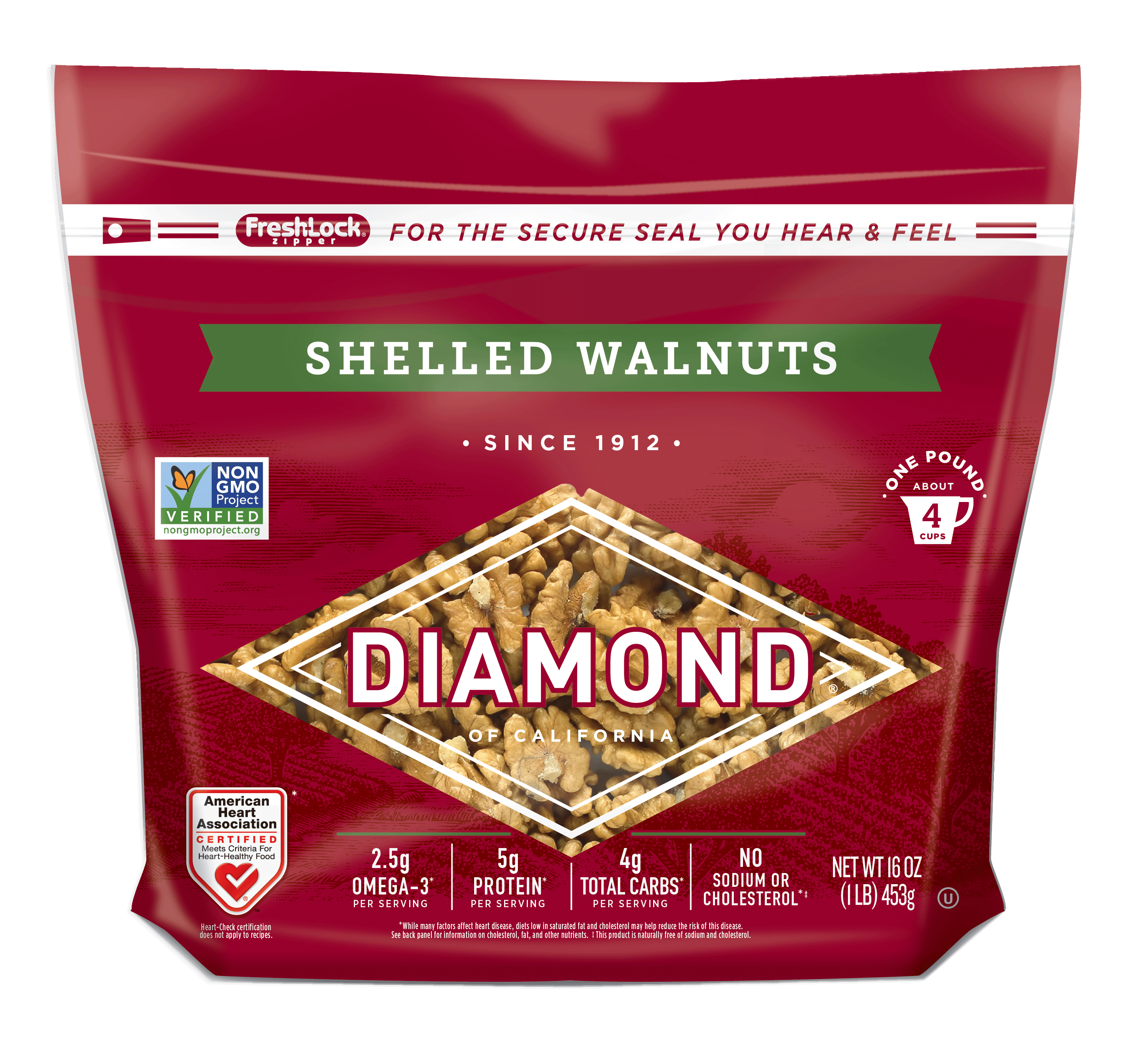 Diamond Brand Shelled Walnuts pouch
